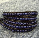 Dark Blue Color Cats Eye 3 Wrap Bangle Bracelet with Black Wax Cord and Shell Clasp