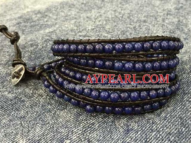 Fashion Hot Sale Multi Strands Round Lapis Beads Wrap Bangle Bracelet