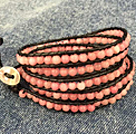 Fashion Hot Sale Multi Strands Round Pink Beads Wrap Bangle Bracelet