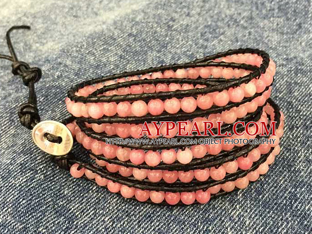 Baby Pink Color Cats Eye 3 Wrap Bangle Bracelet with Gray Wax Cord and Shell Clasp