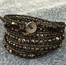 Fashion Hot Sale Multi Strands Round Black Stone Beads Wrap Bangle Bracelet