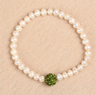 Simple Stretchy Style 5-6mm Natural White Freshwater Pearl Green Rhinestone Bead Elastic Bracelet