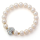 A Grade Round White Freshwater Pearl and White with Colorful Heart Shape Rhinestone Stretch Beaded Bangle Bracelet