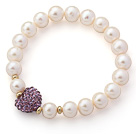 A Grade Round White Freshwater Pearl and Violet Purple Color Heart Shape Rhinestone Stretch Beaded Bangle Bracelet