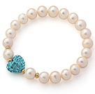A Grade Round White Freshwater Pearl and Lake Blue Color Heart Shape Rhinestone Stretch Beaded Bangle Bracelet