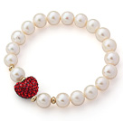 A Grade Round White Freshwater Pearl and Red Color Heart Shape Rhinestone Stretch Beaded Bangle Bracelet