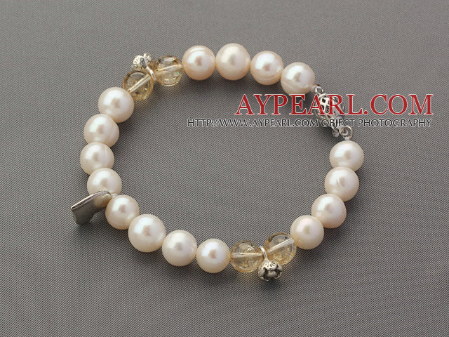 A Grade Round White Freshwater Pearl Beaded Bracelet with Citrine and Metal Accessories