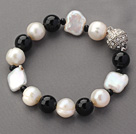 Wholesale Classic Design White Rebirth Pearl and Black Agate Beaded Bracelet