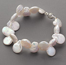 Irregular Shape Top Drilled White Pearl Bracelet