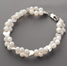 Two Rows White Freshwater Pearl and Silver Color Metal Accessories Bracelet
