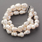 Three Rows Irregular Rice Shape White Pearl Bracelets