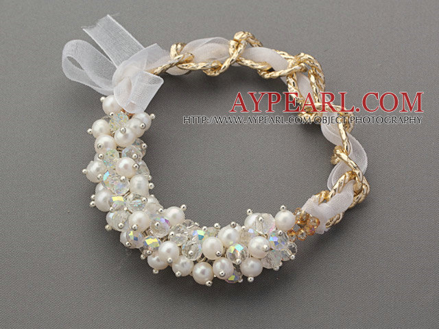 Fashion Style White Freshwater Pearl and Clear Crystal Bracelet with Yellow Metal Chain and White Ribbon