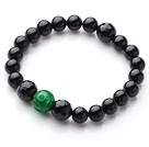 Single Strand Round Black Agate And Green Jade Elastic Bracelet