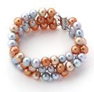 Wholesale Three Rows Gray Blue and Golden Color Freshwater Pearl Beaded Bracelet
