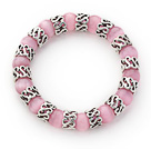 Wholesale 10mm Round Pink Cats Eye and Tibet Silver Spacer Ring Accessories Stretch Bracelet