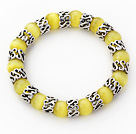 Wholesale 10mm Round Yellow Cats Eye and Tibet Silver Spacer Ring Accessories Stretch Bracelet