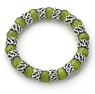 10mm Round Olive Grønn Cats Eye og Tibet Silver Spacer Ring Tilbehør Stretch Bracelet