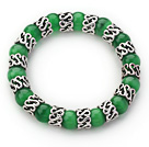 Wholesale 10mm Round Grass Green Cats Eye and Tibet Silver Spacer Ring Accessories Stretch Bracelet