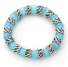 Wholesale 10mm Round Light Blue Color Cats Eye and Tibet Silver Spacer Ring Accessories Stretch Bracelet