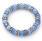 Wholesale 10mm Round Sky Blue Color Cats Eye and Tibet Silver Spacer Ring Accessories Stretch Bracelet