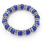 Wholesale 10mm Round Sapphire Blue Color Cats Eye and Tibet Silver Spacer Ring Accessories Stretch Bracelet