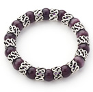 10mm Round Dark Purple Cats Eye and Tibet Silver Spacer Ring Accessories Stretch Bracelet