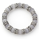 Wholesale 10mm Round Gray Color Cats Eye and Tibet Silver Spacer Ring Accessories Stretch Bracelet