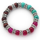Wholesale 10mm Round Tiger Eye and Turquoise and Pink Agate and Tibet Silver Spacer Ring Accessories Stretch Multi Color Bracelet