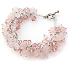 Wholesale Pink Color Assorted Rose Quartz Chips Bracelet with Silver Color Metal Chain