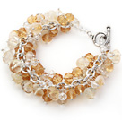 Wholesale Yellow Color Assorted Citrine Chips Bracelet with Silver Color Metal Chain