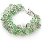 Light Green Color Assorted Light Crystal and Prehnite Chips Bracelet with Silver Color Metal Chain