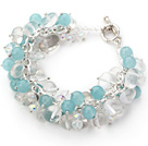 Light Blue Series Assorted Clear Crystal and Blue Jade Bracelet with Silver Color Metal Chain