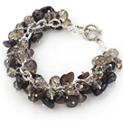 Wholesale Assorted Natural Smoky Quartz Chips Bracelet with Silver Color Metal Chain