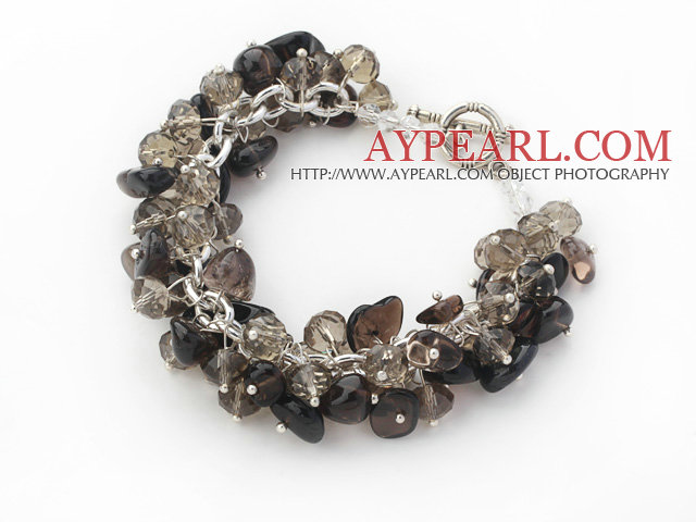 Assorted Natural Smoky Quartz Chips Bracelet with Silver Color Metal Chain