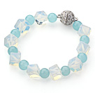 Wholesale Cube Shape Opal Crystal and Round Blue Jade Bracelet with Magnetic Clasp
