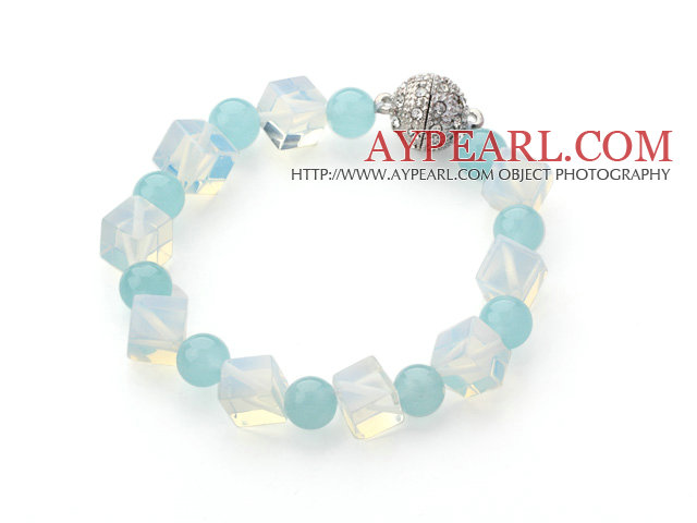 Cube Shape Opal Crystal and Round Blue Jade Bracelet with Magnetic Clasp