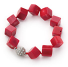 Cube Shape 12mm Red Coral Knotted Bracelet with Magnetic Clasp