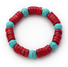 Assorted Wheel Shape Red Coral and Round Turquoise Stretch Bracelet