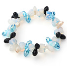 Wholesale Blue Long Drop Crystal and Heart Shape Milky Color Opal Crystal Stretch Bracelet