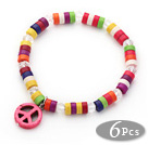 Wholesale 6 Pices Dyed Multi Color Wheel Shape Turquoise Stretch Bangle with Pink Peace Accessory