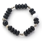 Wholesale Abacus Shape Black Agate Stretch Bangle Bracelet with Tibet Silver Accessories