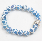 Wholesale Fashion Blue White Hand-Painted Round Agate Beaded Elastic Bracelet