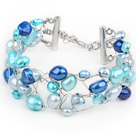 2013 Summer New Design Blue Series Freshwater Pearl Crocheted Metal Wire Bracelet with Extendable Chain