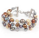 2013 Summer New Design Golden and Gray Color Freshwater Pearl Crocheted Metal Wire Bracelet with Extendable Chain