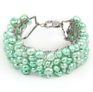 2013 Summer New Design Light Green Color Freshwater Pearl Crocheted Metal Wire Cuff Bracelet