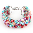 2013 Summer New Design Multi Color Freshwater Pearl Crocheted Metal Wire Cuff Bracelet