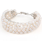 2013 Summer New Design White Freshwater Pearl Crocheted Metal Wire Cuff Bracelet