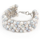 Wholesale 2013 Summer New Design White and Gray Freshwater Pearl Crocheted Metal Wire Cuff Bracelet