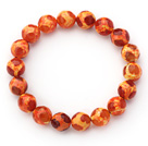 10mm Round Orange Red Pattern Brann Agate Stretch Beaded Bangle Bracelet