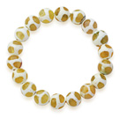 Wholesale 10mm Round White and Peridot Color Pattern Fire Agate Stretch Beaded Bangle Bracelet